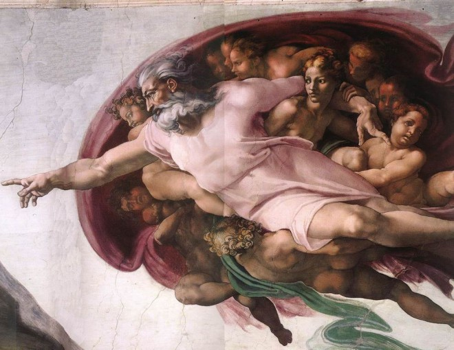 Michelangelo's Creation of Adam (close-up)