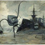 A Martian vehicle battling with the warship Thunder Child, also by the Brazilian artist Henrique Alvim Corrêa.