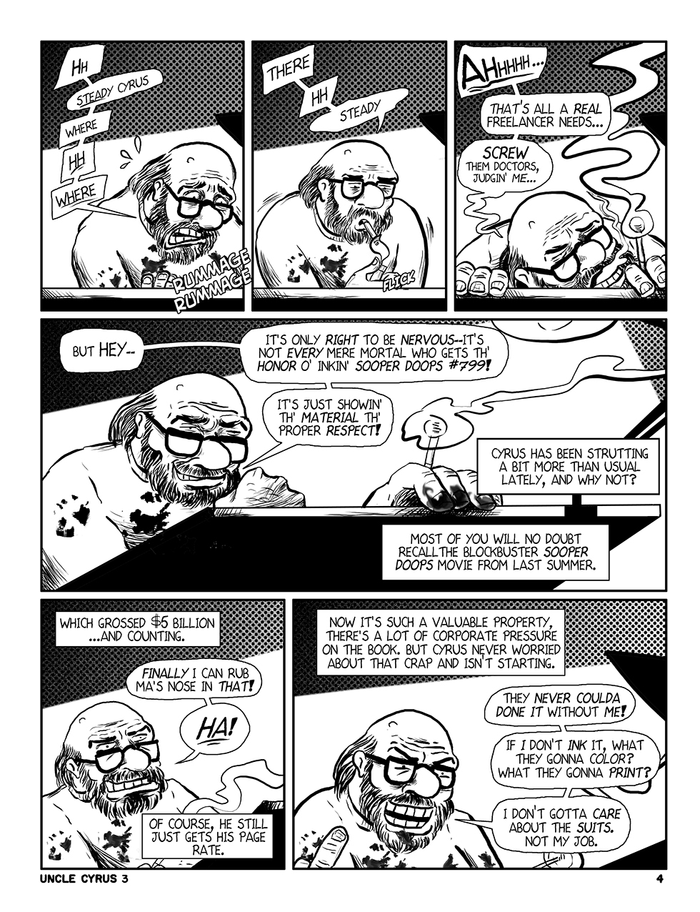 "Uncle Cyrus in ""Deadliney Doom!"", Page 4"