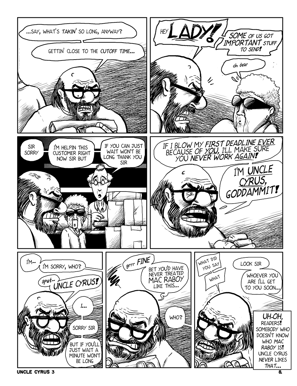 "Uncle Cyrus in ""Deadliney Doom!"", Page 8"